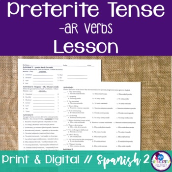 Spanish Preterite -AR Verbs Lesson {Distance Learning}