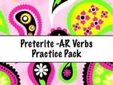Spanish Preterite -AR Verbs Practice Worksheets Set