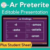 Spanish Preterite Ar Verbs Notes and Presentation