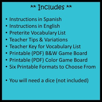 Spanish Preterite Board Game By Spanish Joes Resources For You Tpt