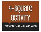 Spanish Preterite Car Gar Zar Four Square Activity