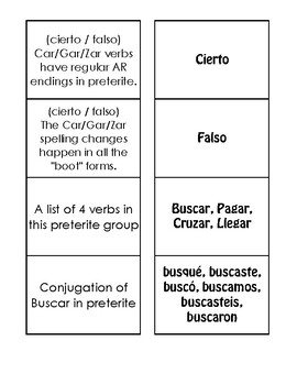 Spanish Preterite Car Gar Zar Matching Game