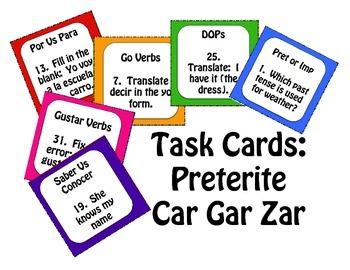 Spanish Preterite Car Gar Zar Task Cards