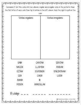 Spanish Preterite Conjugation Break Out Escape Room Lesson Activity