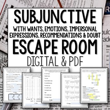 Spanish Subjunctive WEIRDO Breakout Room Lesson Plan Activity Escape Room