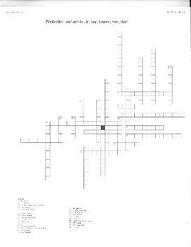 Spanish Preterite Crossword Puzzle