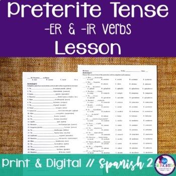 Spanish Preterite -ER & -IR Verbs Lesson