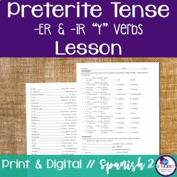 "Spanish Preterite -ER & -IR ""Y"" Verbs Lesson"