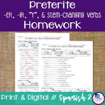 Spanish Preterite -ER, -IR, Y, and Stem-Changing Verbs Homework