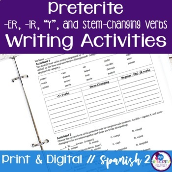 Spanish Preterite -ER, -IR, Y, and Stem-Changing Verbs Writing Exercises