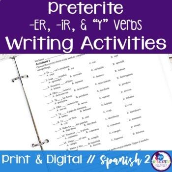 "Spanish Preterite -ER & -IR ""Y"" Verbs Writing Exercises"