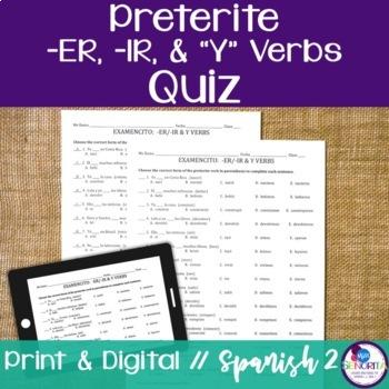 Spanish Preterite -ER/-IR and Y Verbs Quiz