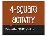 Spanish Preterite Regular ER and IR Four Square Activity