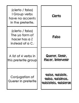 Spanish Preterite I Group Matching Game