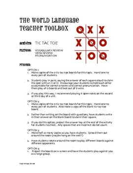Spanish Preterite I Group Tic Tac Toe Partner Game