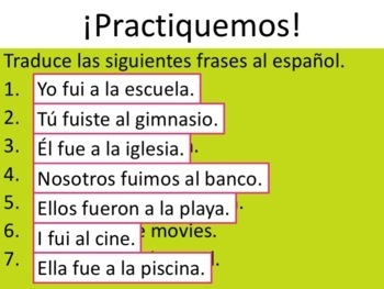 Spanish Preterite Ir Powerpoint & Notes