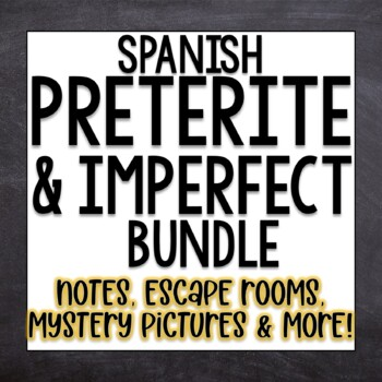 Preterite Imperfect Bundle Lesson Plan task Cards Worksheets break out rooms