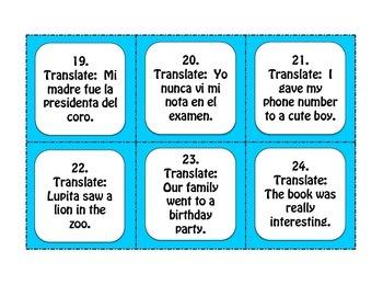 Spanish Preterite Ir Ser Dar Ver Task Cards