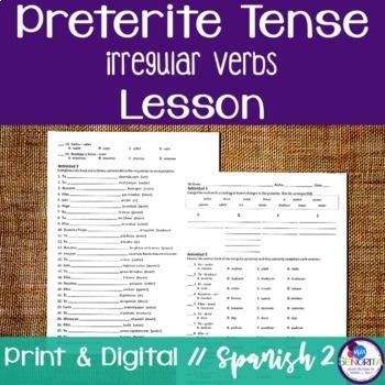 Spanish Preterite Irregular Verbs Lesson