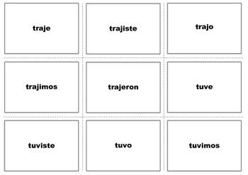 Spanish Preterite Irregular Verbs Practice Game- VERBO