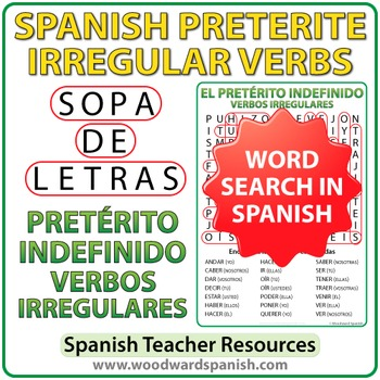 Spanish Preterite - Irregular Verbs Word Search