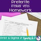 Spanish Preterite Irregular Verbs Homework