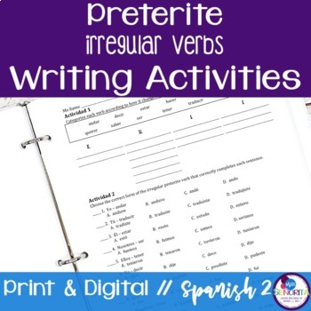 Spanish Preterite Irregular Verbs Writing Exercises