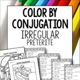 Spanish Preterite Irregulars color by conjugation activity lesson worksheet