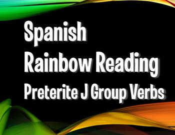 Spanish Preterite J Group Rainbow Reading