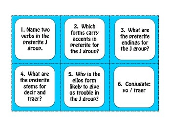 Spanish Preterite J Group Task Cards