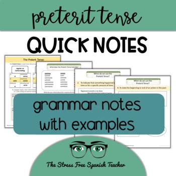 Spanish Preterite Notes, Handout