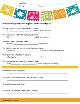 Spanish Preterite Perfect Worksheet