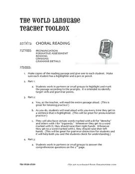 Spanish Preterite Regular AR Choral Reading
