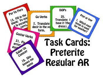 Spanish Preterite Regular AR Task Cards