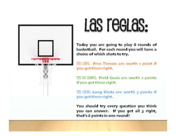 Spanish Preterite Regular ER and IR Basketball