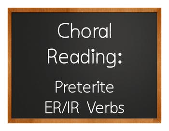 Spanish Preterite Regular ER and IR Choral Reading