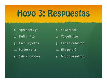 Spanish Preterite Regular ER and IR Golf