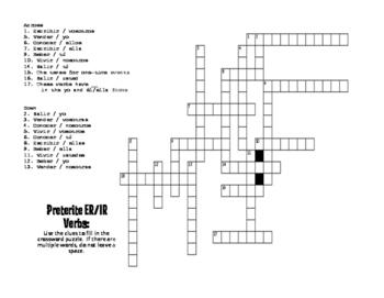 Spanish Preterite Regular ER and IR Puzzle Pack