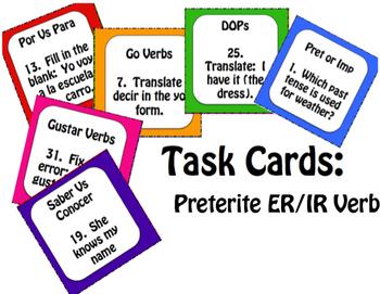 Spanish Preterite Regular ER and IR Stations