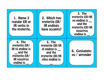 Spanish Preterite Regular ER and IR Task Cards
