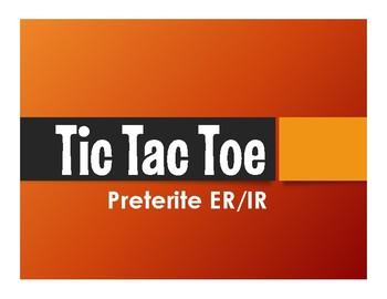 Spanish Preterite Regular ER and IR Tic Tac Toe Partner Game