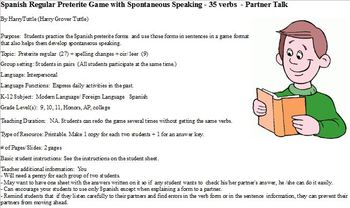 Spanish Preterite Regular Game wih Spontaneous Speaking