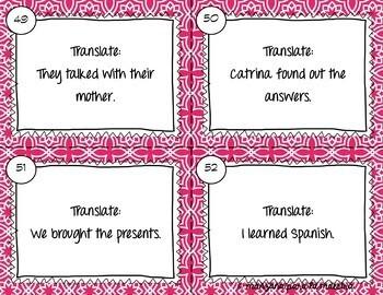 Spanish Preterite Regular & Irregular Verbs Task Cards