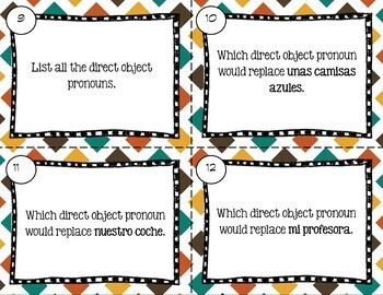 Spanish Direct Object Task Cards
