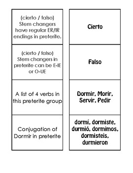 Spanish Preterite Stem Changer Matching Game