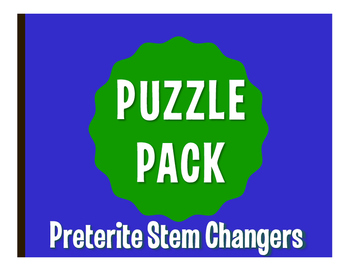 Spanish Preterite Stem Changer Puzzle Pack