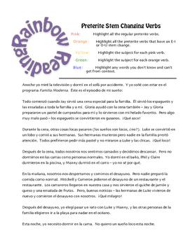 Spanish Preterite Stem Changer Rainbow Reading