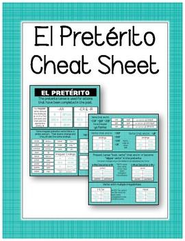 Spanish Preterite Tense Cheat / Reference Sheet