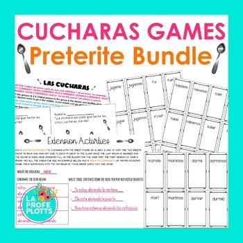 Spanish Preterite Tense ¡Cucharas! Games BUNDLE