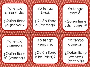 Spanish Preterite Tense ER IR Verbs I have...who has...? Game